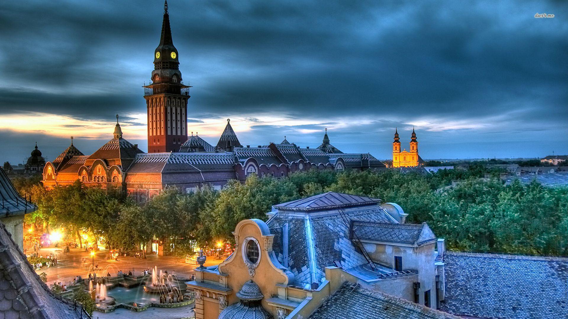 Забележителност в Сърбия - нощна снимка